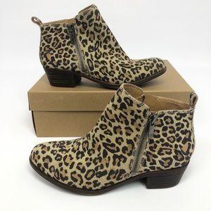 Lucky Brand Basel Womens Booties Natural Leopard